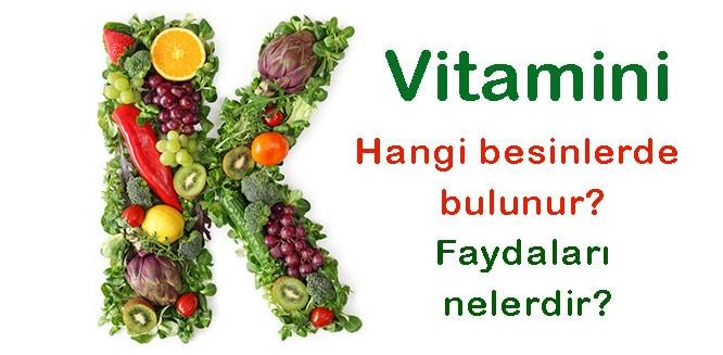 Yiyecekler k vitamini bulunan